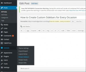 Genesis: How to Create Custom Sidebars for Categories, Posts and Pages