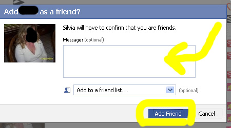 how to send friend request on facebook with message