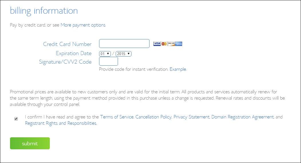 bluehost-billing-information