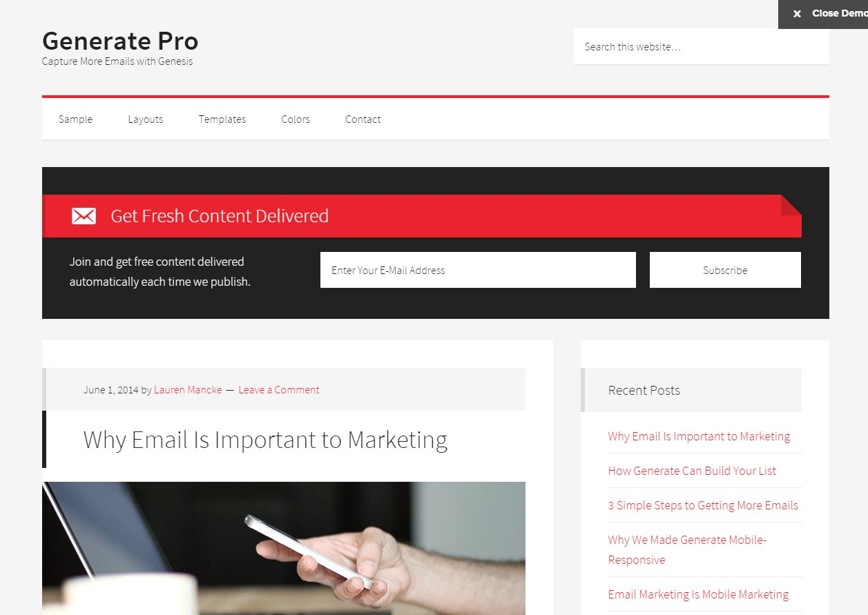 Generate Pro theme for WordPress